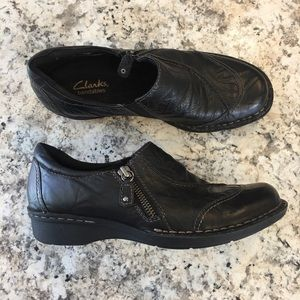 Clarks Bendables Whistle Max Black Leather Shoe